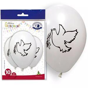 Balões Pomba com Ramo de Oliveira Branco Látex, 10 unid.