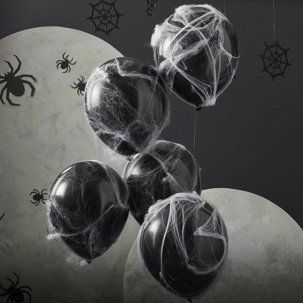 Balões Pretos com Teias e Aranhas, 5 unid.