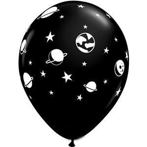 Balões Pretos Espaço Látex, 6 unid.