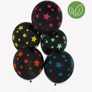 Balões Pretos Estrelas Neon Látex, 5 unid.