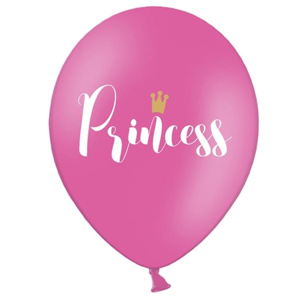 Balões Princess Rosa Latex, 6 unid.