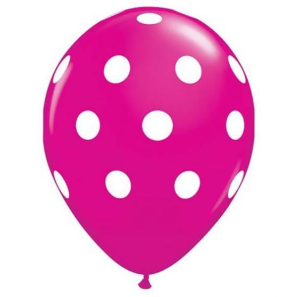 Balões Rosa Bolinhas, 6 Unid.