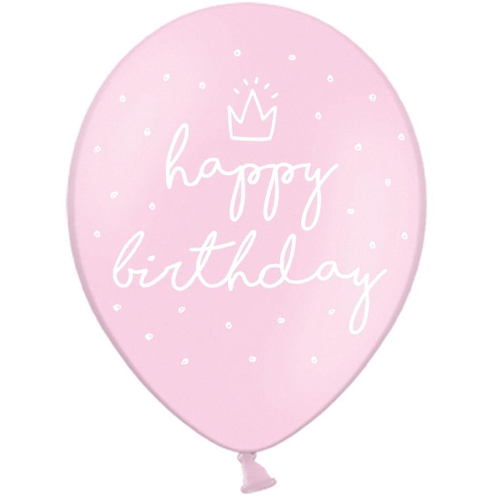 Balões Rosa Happy Birthday Látex, 6 unid.