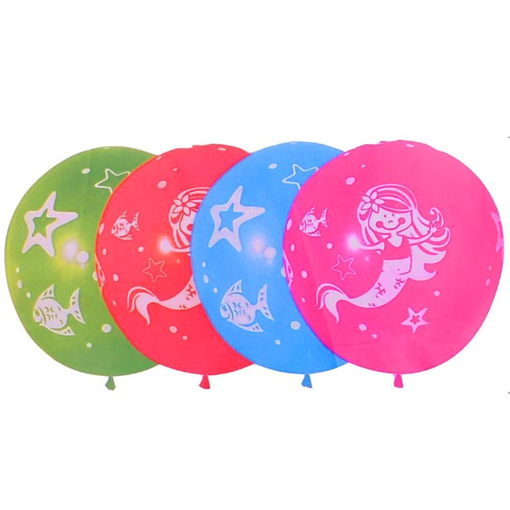 Balões Sereia Multicolor Látex, 5 unid.