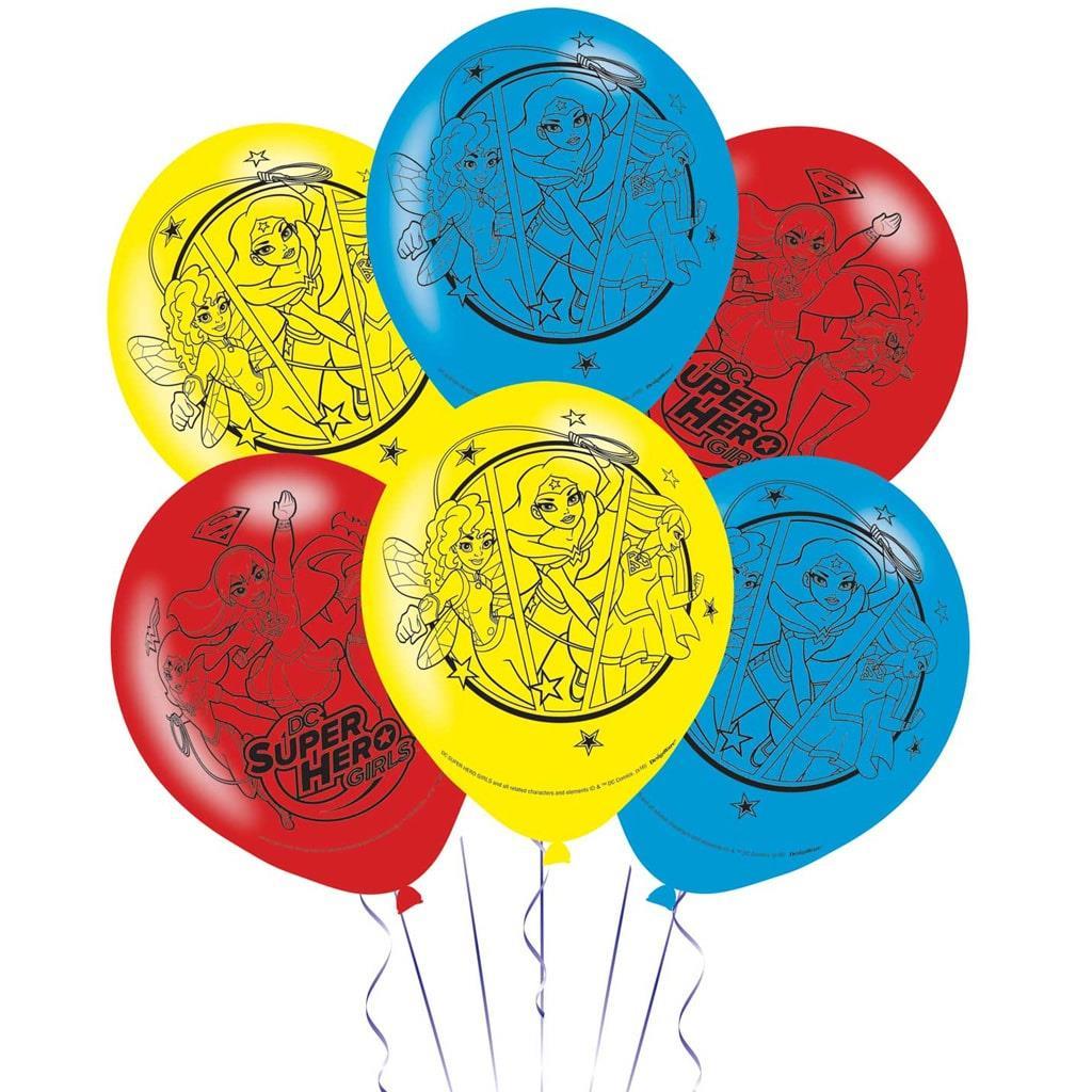 Balões Super Heroínas Látex, 6 unid.