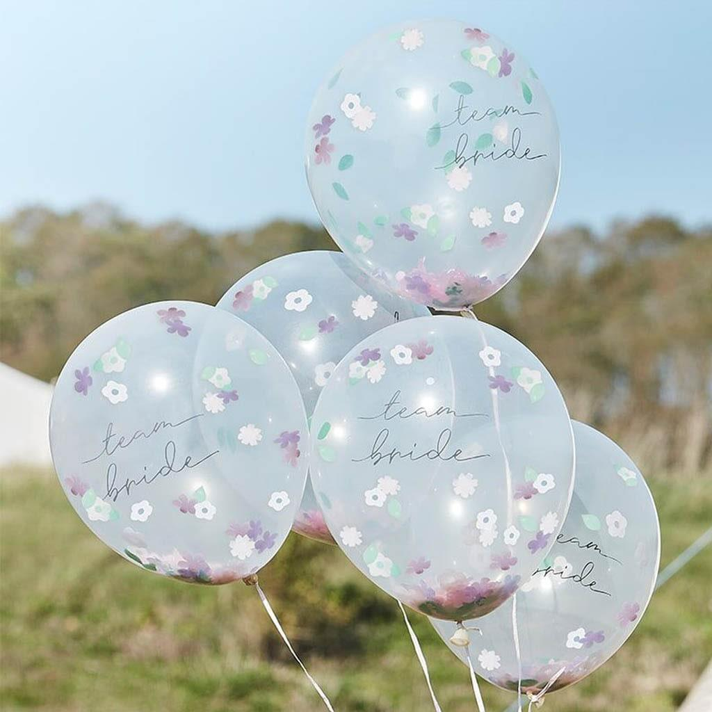 Balões Team Bride com Confetis Floral Látex, 5 unid.