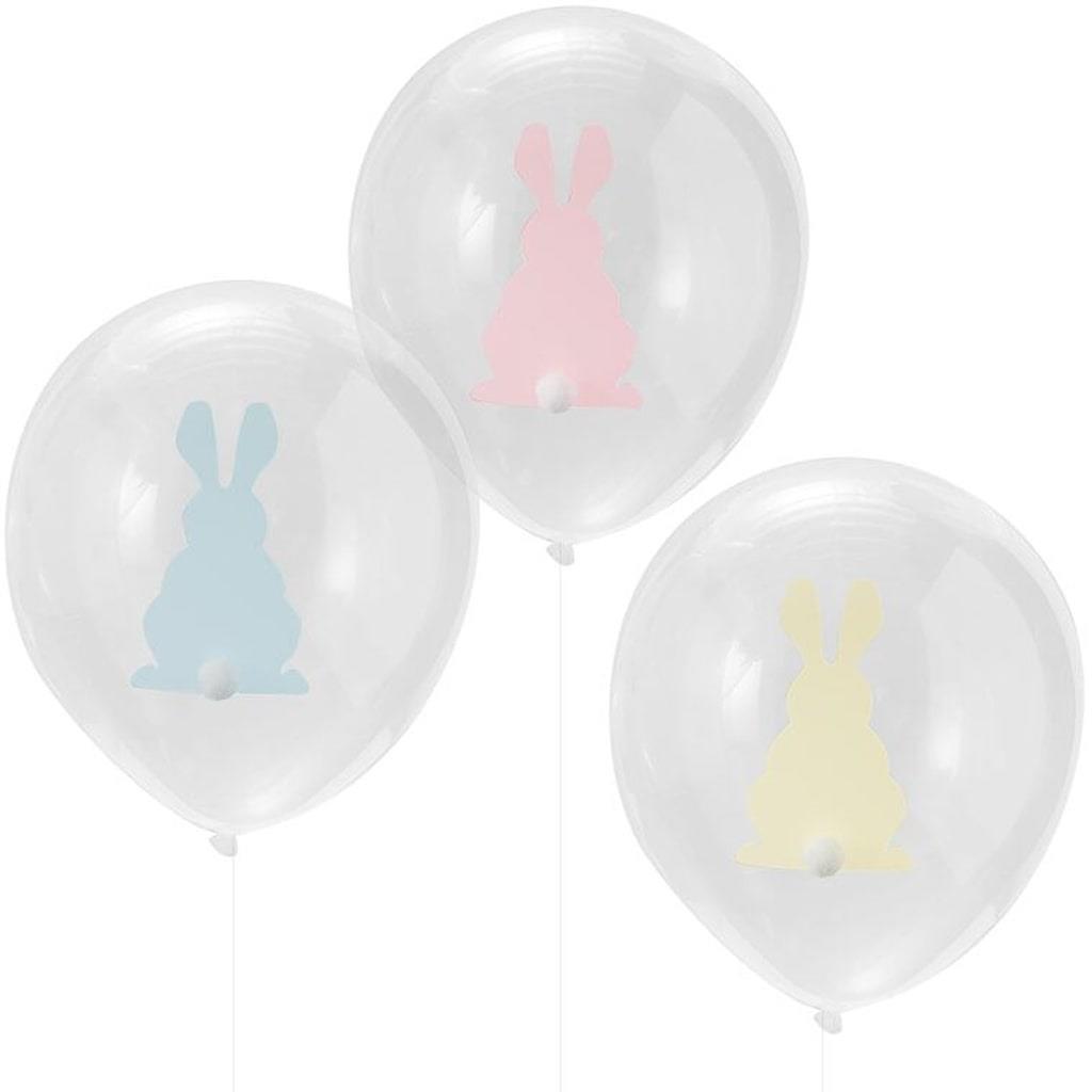 Balões Transparentes Coelhos com Pompom Látex, 9 unid.