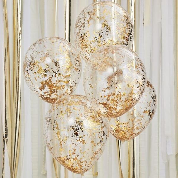 Balões Transparentes com Confetis Dourados, 5 unid.