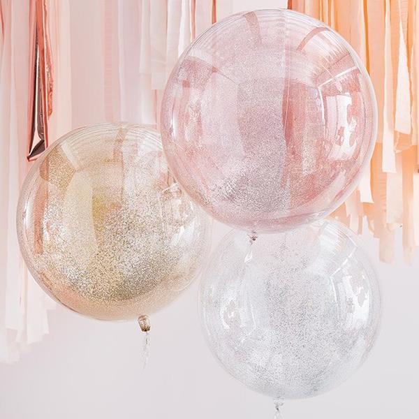 Balões Transparentes com Confetis Glitter Orbz, 3 unid.