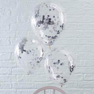 Balões Transparentes com Confetis Prateados Látex, 5 unid.