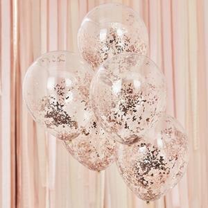 Balões Transparentes com Confetis Rosa Gold, 5 unid.