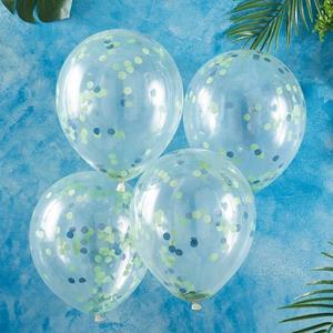Balões Transparentes com Confetis Verdes e Azuis Látex, 5 unid.