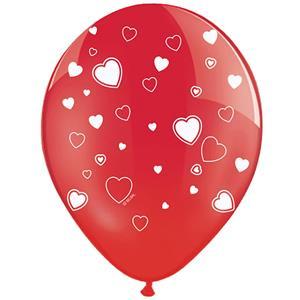 Balões Vermelhos com Corações Látex, 6 unid.