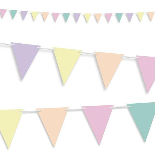 Bandeiras Triangulares Pastel, 5 mt