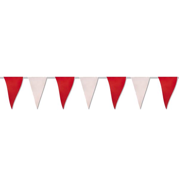 Bandeiras Triangulares Vermelho e Branco 50 m