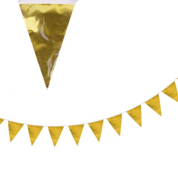 Bandeirolas Triangulares Douradas, 10 mt