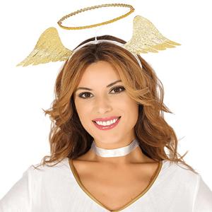 Bandolete Auréola de Anjo com Asas Douradas