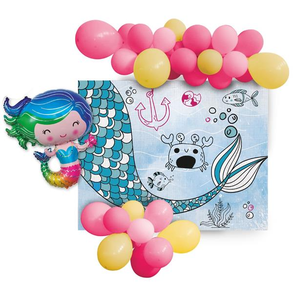 Banner de Sereia com Balões, 110 cm
