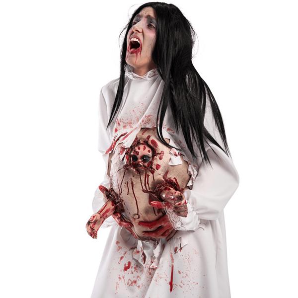Barriga Falsa Ensanguentada de Grávida Zombie em Látex