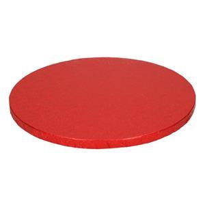 Base Alta Redonda para Bolos Vermelha, 25 cm