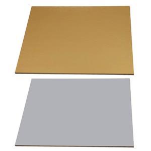 Base para Bolos Quadrada Prateada e Dourada, 30 cm