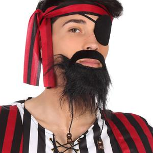 Bigode e Barba Preta com Tranças de Pirata