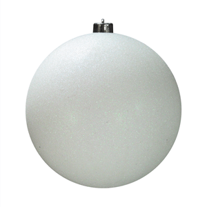 Bola de Natal Branca com Purpurina, 20 Cm