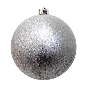 Bola de Natal Prateada com Purpurina, 20 Cm