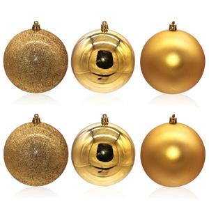 Bolas de Natal Douradas, 10 cm, 6 unid.