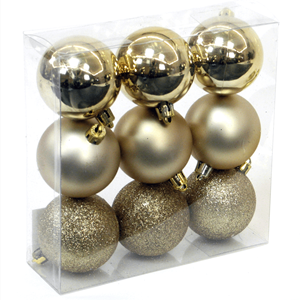 Bolas de Natal Douradas, 6 Cm, 9 unid.