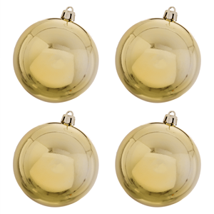 Bolas de Natal Douradas Lisas, 8 Cm, 4 unid.