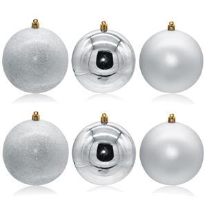 Bolas de Natal Prateadas, 10 cm, 6 unid.