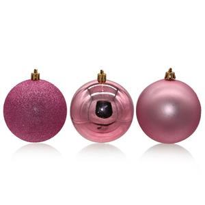 Bolas de Natal Rosa, 6 cm, 24 unid.