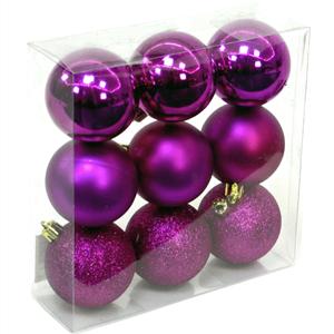 Bolas de Natal Rosa, 6 Cm, 9 unid.