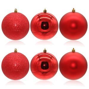 Bolas de Natal Vermelhas, 10 cm, 6 unid.