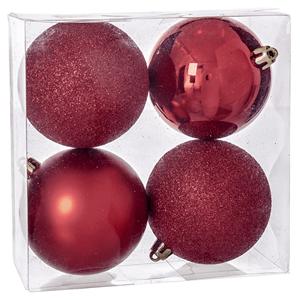 Bolas de Natal Vermelhas, 8 Cm, 4 unid.