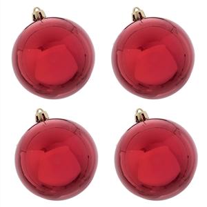 Bolas de Natal Vermelhas Lisas, 8 Cm, 4 unid.