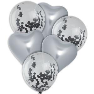 Bouquet de Balões Corações Prateados e com Confetis