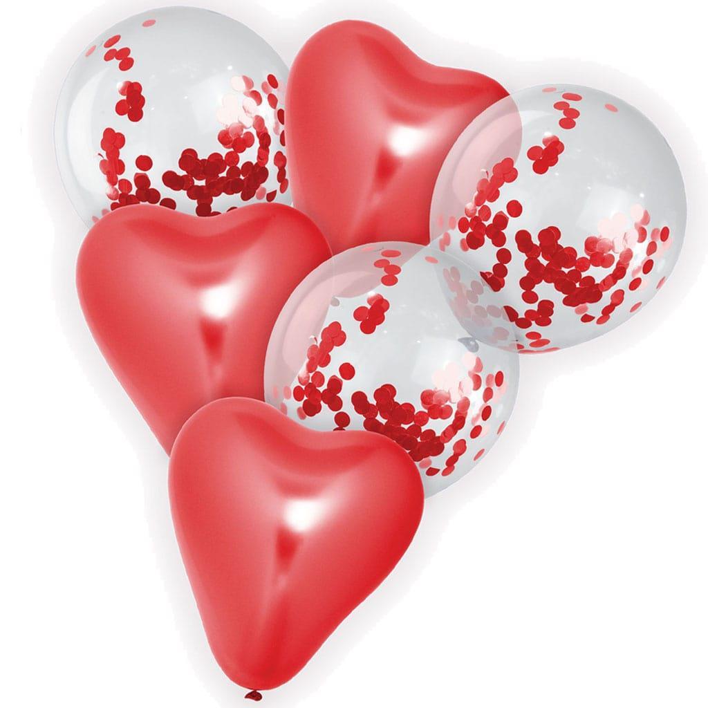 Bouquet de Balões Corações Vermelho e com Confetis