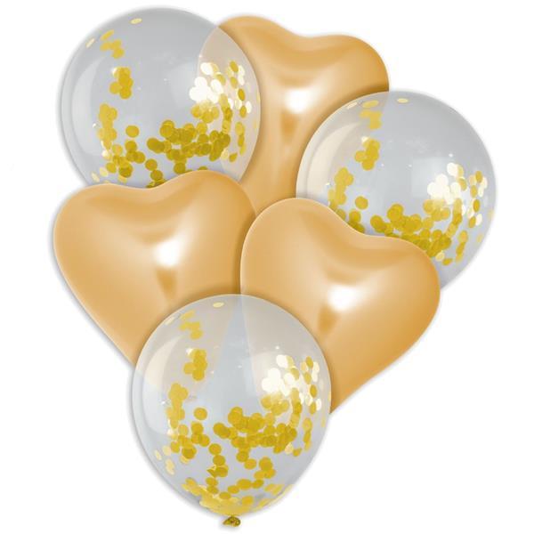 Bouquet de Balões Corações Dourados e com Confetis