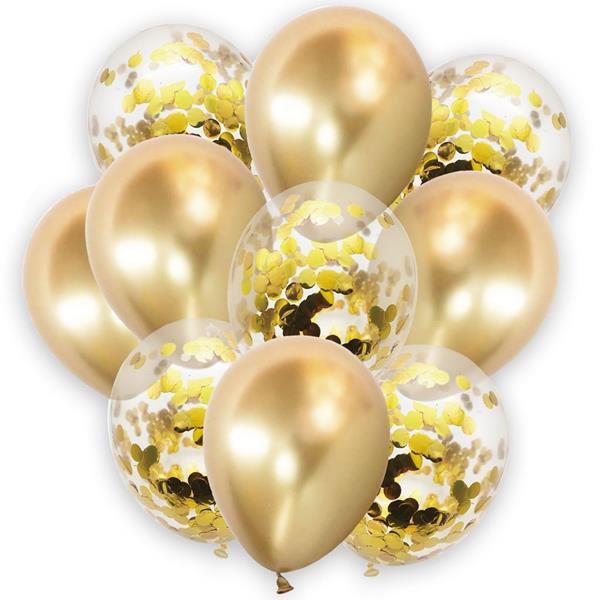 Bouquet de Balões Dourado com Confetis