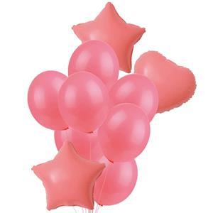 Bouquet de Balões Estrelas e Corações Rosa