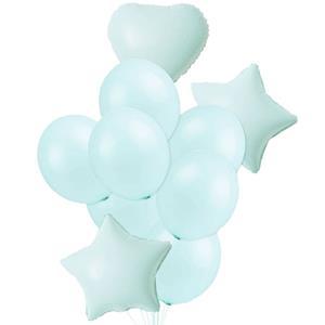 Bouquet de Balões Estrelas e Corações Verde Menta