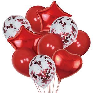 Bouquet de Balões Estrelas e Corações Vermelho e com Confetis