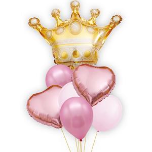 Bouquet de Balões Rosa com Coroa Dourada