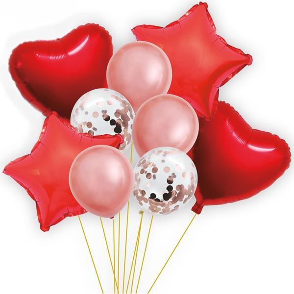 Bouquet de Balões Vermelho Corações e Estrelas