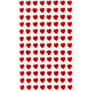 Brilhantes Adesivos Corações Vermelhos, 104 unid.