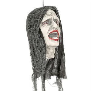 Cabeça Zombie com Luz, 25 cm