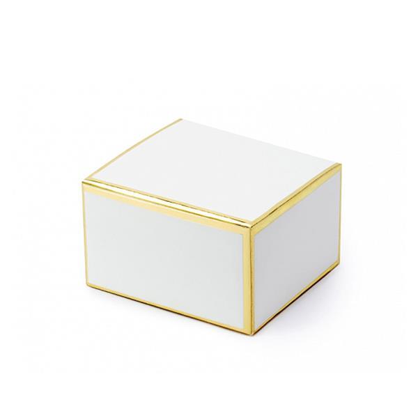 Caixa Branca com Rebordo Dourado, 10 Unid.
