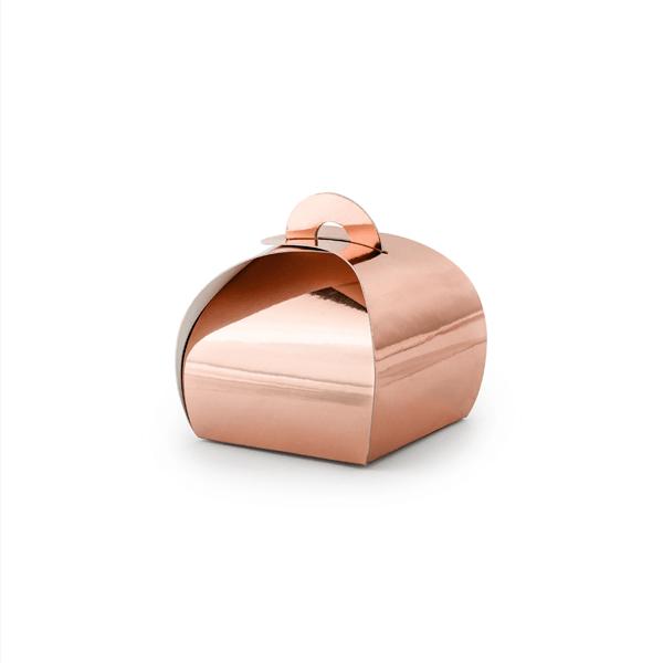 Caixa Brinde Rosa Gold Metalizada, 10 Unid.